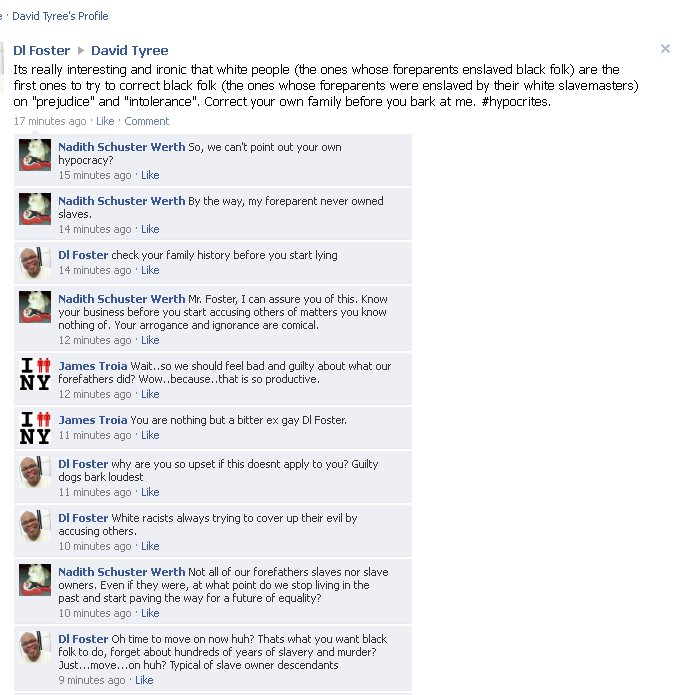 Ex-Gay D L  Foster's Facebook Chat Turns 'Racist' | Truth Wins Out